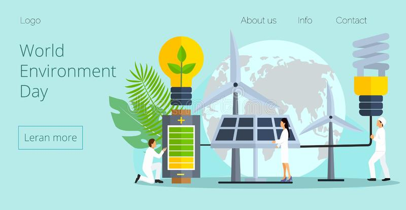 Concept of save the planet, save energy. The hour of the Earth, the concept of the Earth day vector flat illustration for website, apps, landing pages stock illustration