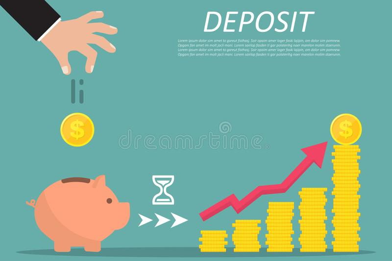Concept of saving or save money or open a bank deposit. Hand falling gold coins stock illustration