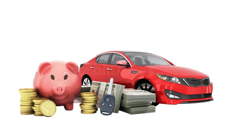 Concept of savings to buy a car money pig dollar bills in stacks. Car 3d render on white no stock illustration