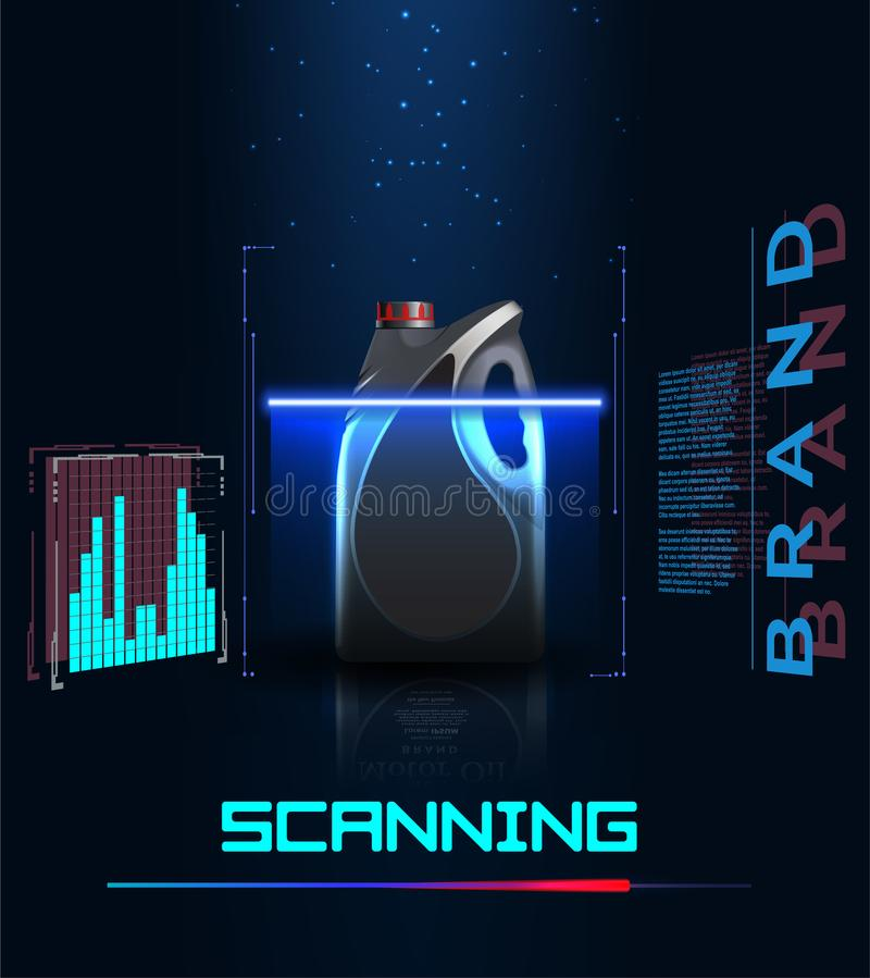 Concept of scanning a bottle of engine oil. Futuristic user interface in style HUD. Digital interface stock illustration
