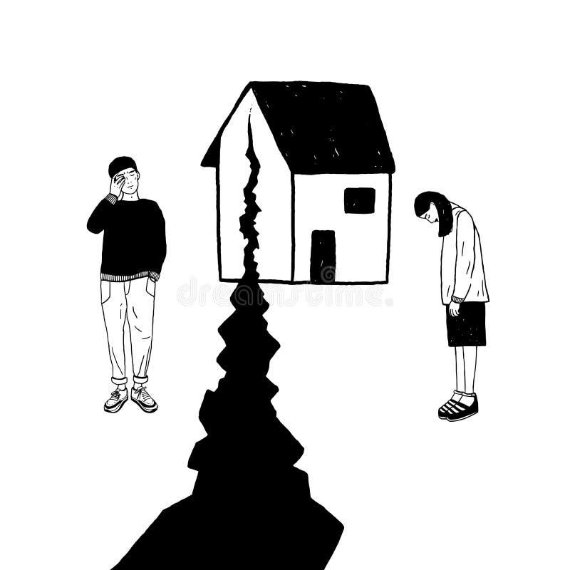 Concept scheiding, barst in verhoudingen, familiespleet Droevige meisje en kerel na scheiding Vector zwart-witte hand vector illustratie