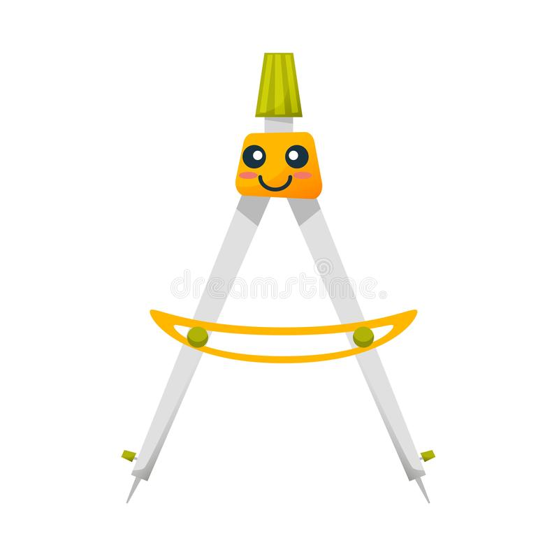 Funny dividers, accurate measurements, cute smiles and makes calculations. Concept of school funny office supplies. Happy divider with face. Cartoon happy vector illustration