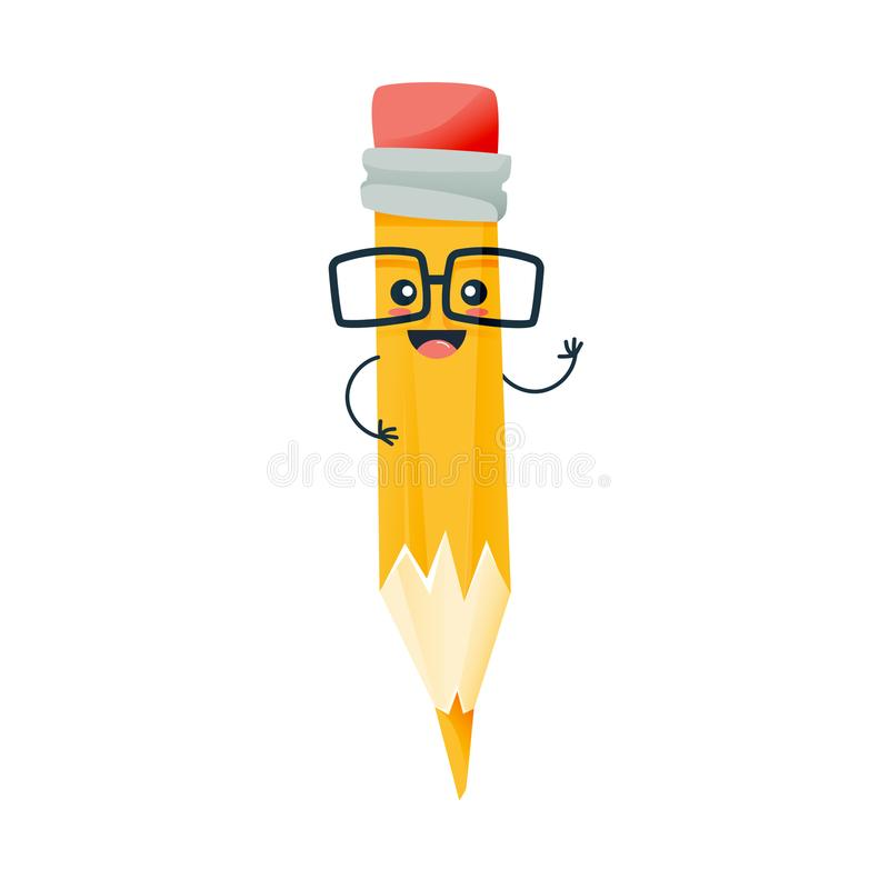 Funny pencil in glasses, smiles and raises his hand up. Concept of school funny office supplies. Happy pencil with face. Cartoon school happy character pencil stock illustration