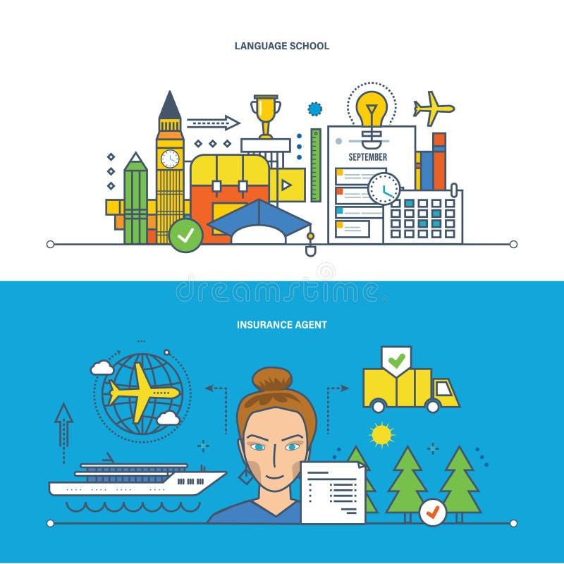 Concept - school, onderwijs, verzekering en financiën, veiligheid van gegevens stock illustratie