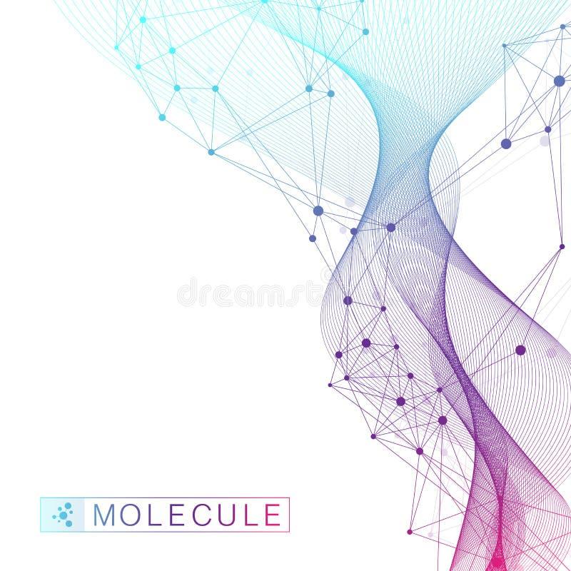 Concept scientifique de génie génétique d'illustration de vecteur et de manipulation de gène Hélice d'ADN, brin d'ADN, molécule o illustration de vecteur