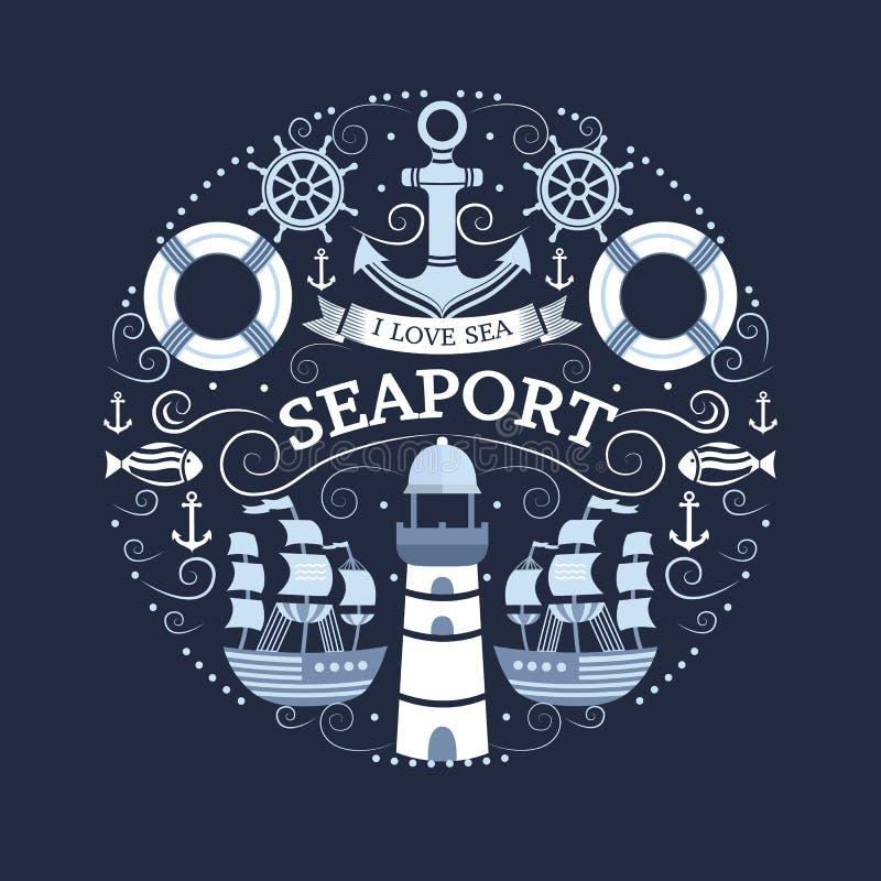 Concept with sea symbols. stock illustration