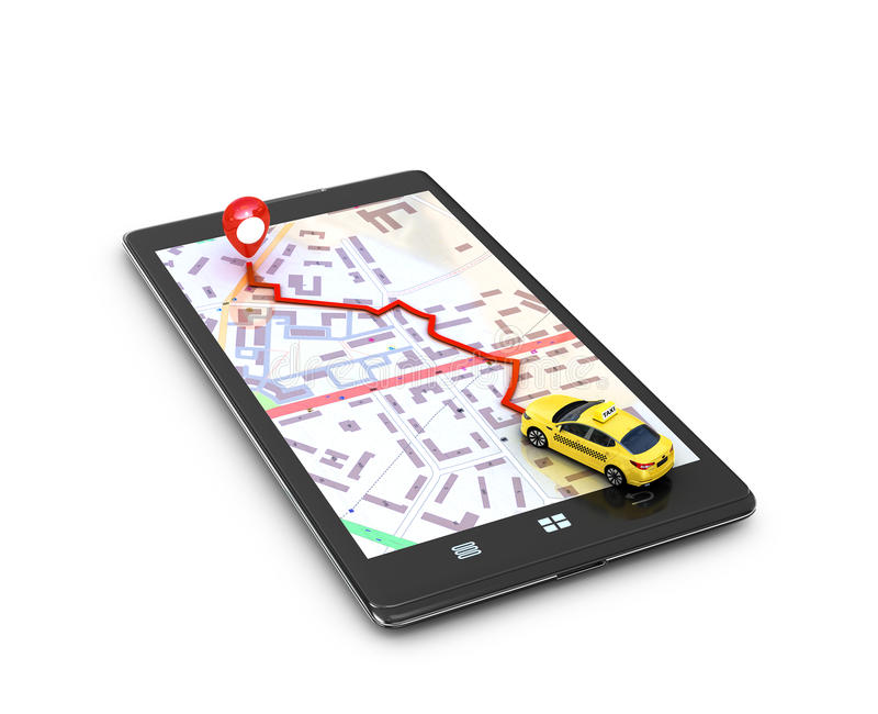 The concept of search engines,. Program the GPS on the mobile phone. Yellow taxi on the map GPS mobile phone movement toward the goal. 3D illustration stock illustration