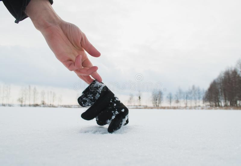 The concept search operation in the winter. royalty free stock image