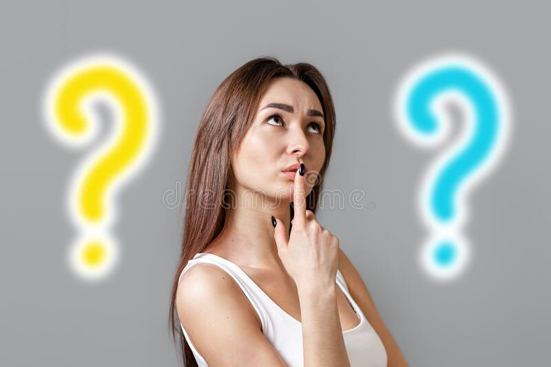 The concept of searching for ideas. Portrait of a pensive young Caucasian woman looking at the top and putting her finger to her vector illustration