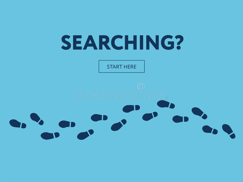 Concept of searching. Internet banner. Start here. Button vector illustration