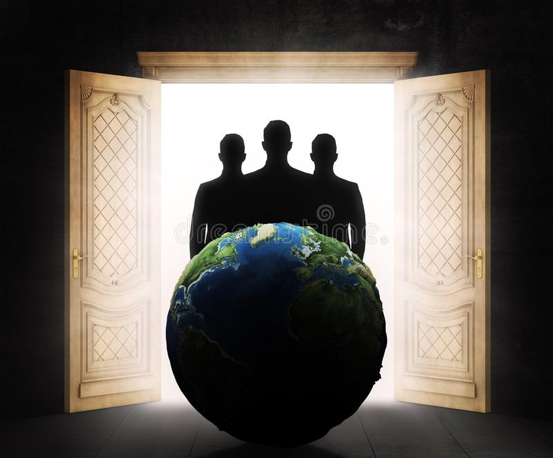 The concept of secret government. Silhouettes in the doorway are opposite the model of the earth. Suction of resources stock illustration