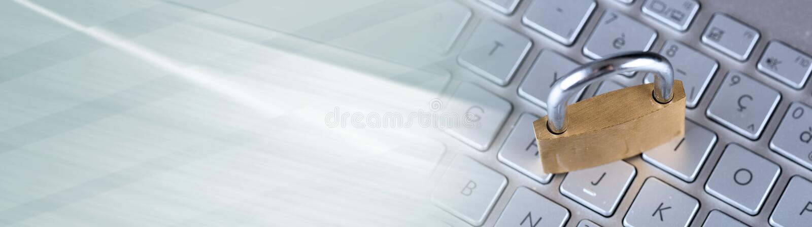 Concept of it security; panoramic banner royalty free stock photography