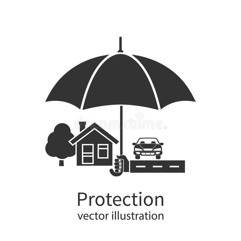 Concept of security of property. Flat design. Agent holding umbrella over house. Insurance home, car, money. Vector illustration stock illustration