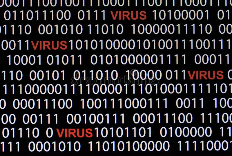 Concept of security and virus.Red text of VIRUS and White binary. Code royalty free stock photos