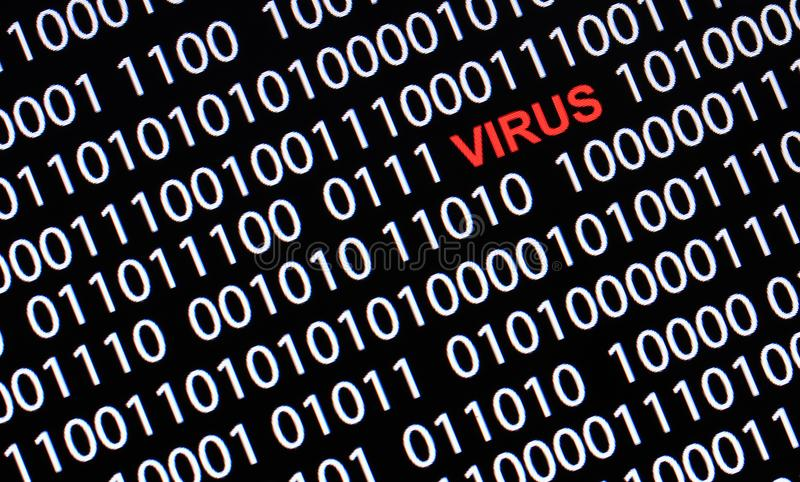 Concept of security and virus.Red text of VIRUS and White binary. Code royalty free stock photo