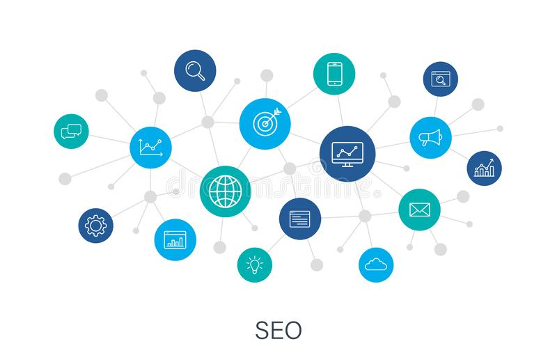 Concept SEO and Development web icons in line style. Contact, Target, Website. Digital network, social media. Vector vector illustration
