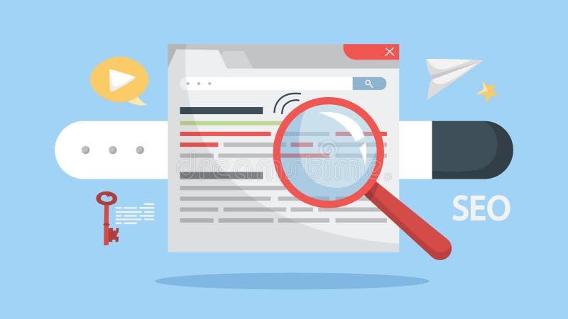 Concept SEO Idee van zoekmachineoptimalisering voor website stock illustratie