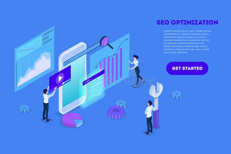 Concept SEO Idee van zoekmachineoptimalisering voor website royalty-vrije illustratie