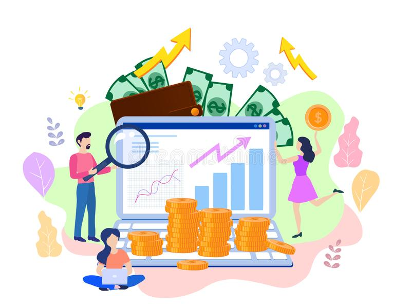 Concept SEO, market research Web site coding, internet search op. Timization for web page, banner, presentation, social media, documents. Vector illustration stock illustration