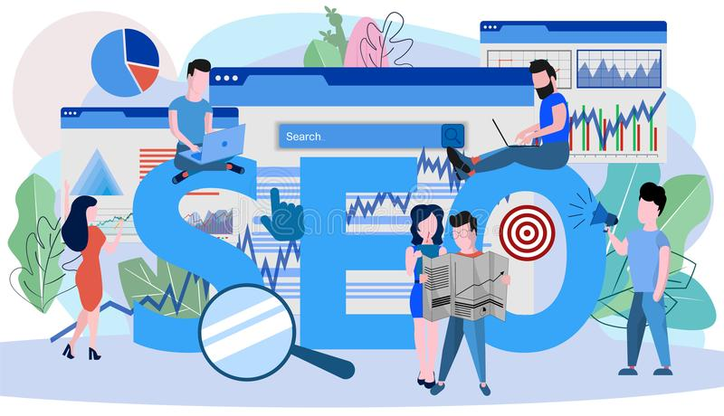 Concept SEO, market research Web site coding. Internet search optimization for web page, banner, presentation, social media, documents. Vector illustration vector illustration