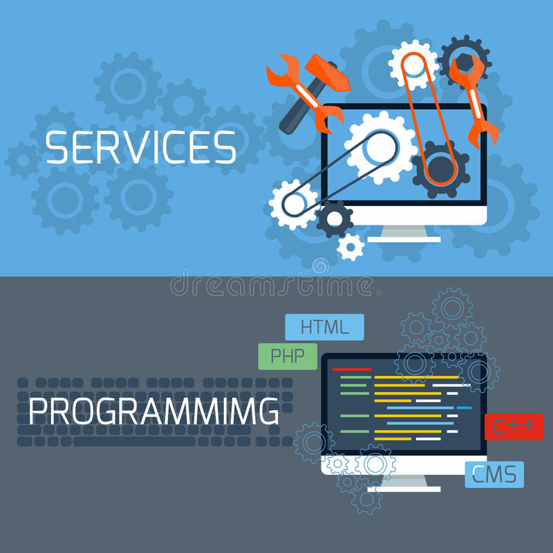 Concept for services and programming vector illustration
