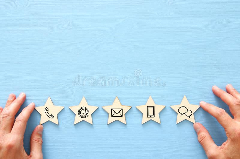 Concept of setting five star customer service rating. contact us business idea. Concept of setting five star customer service rating. contact us business idea stock photo