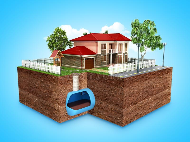 Concept of Sewerage in a private house 3d render on blue. Concept of Sewerage in a private house 3d render stock illustration
