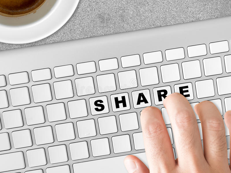 Concept of Share words. Concept of Share words on the keyboards stock photos