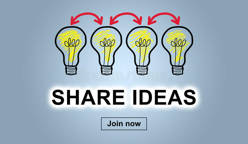 Concept of sharing ideas. On blue background stock illustration