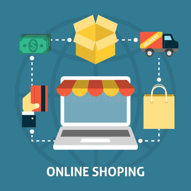 Concept shoping en ligne illustration libre de droits