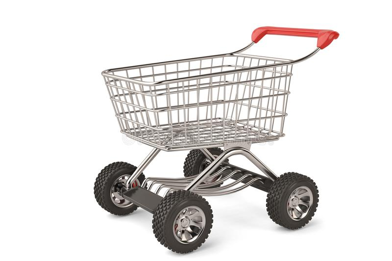 Concept shopping cart with big car wheel high resolution.3D illustration. vector illustration