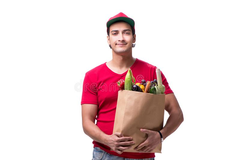 The concept of shopping delivery isolated on white background royalty free stock images