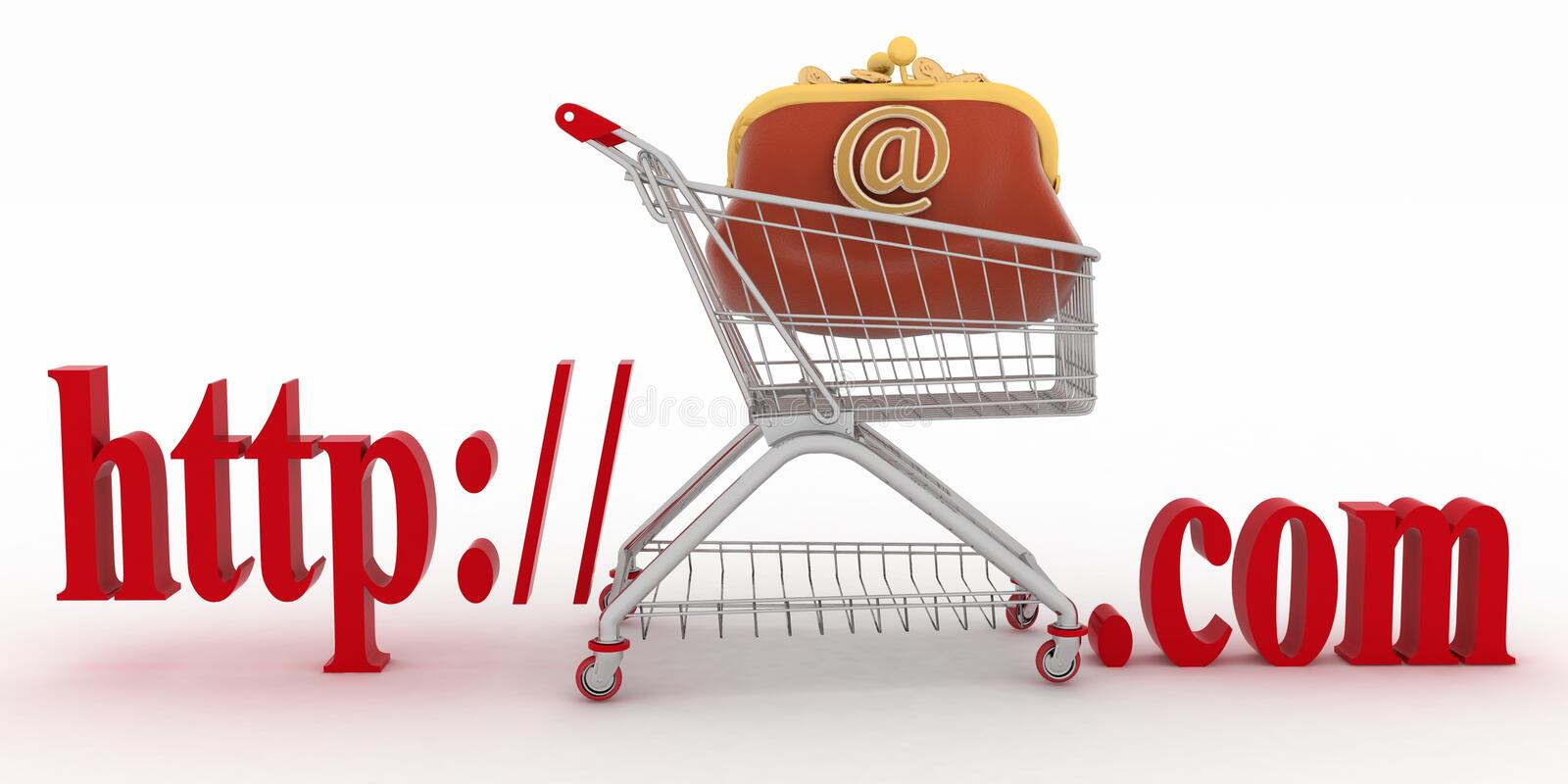 Concept of shopping on the web sites of commercial. 3d illustration on a white background vector illustration