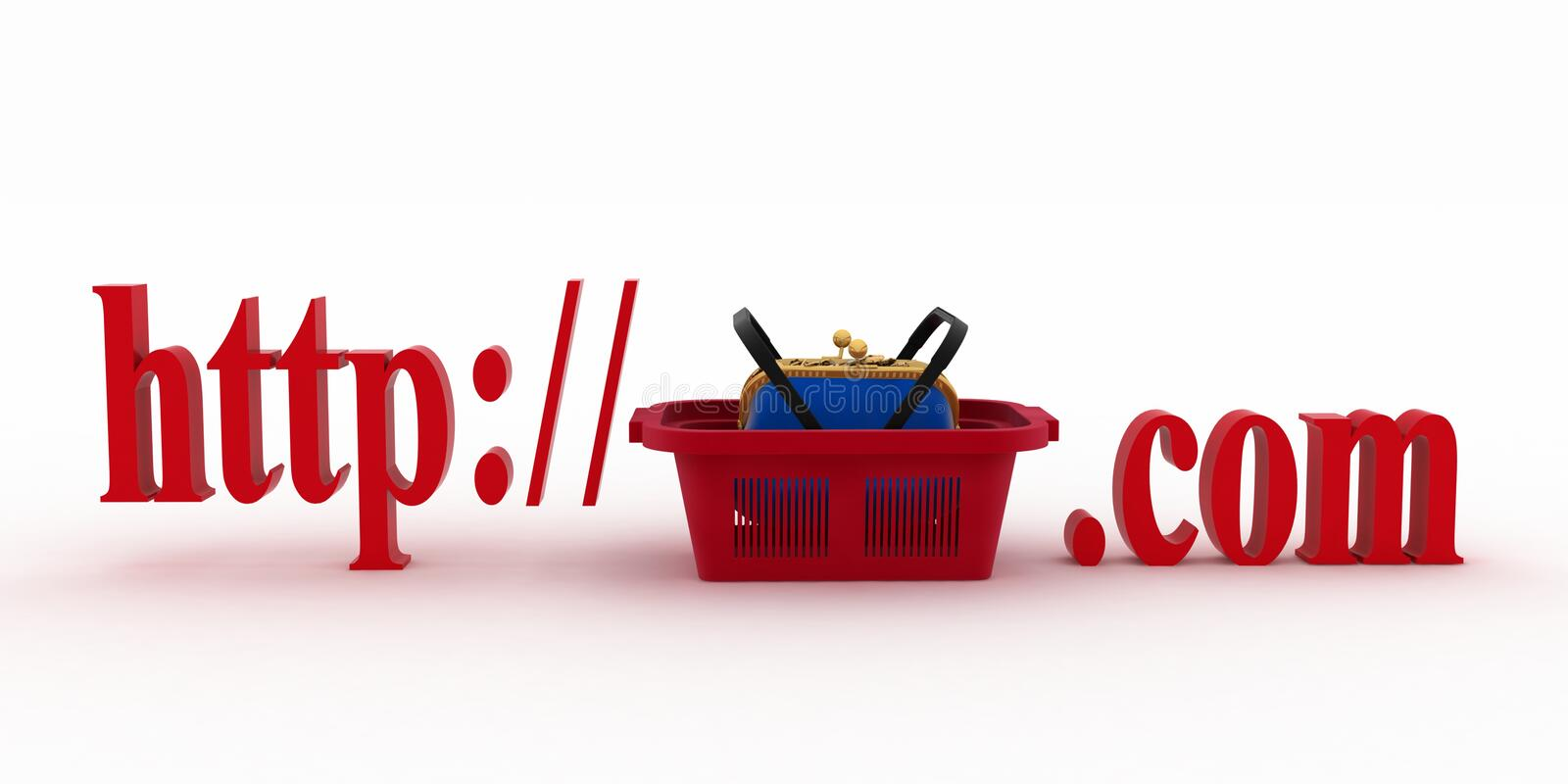 Concept of shopping on the web sites of commercial. 3d illustration on a white background stock illustration