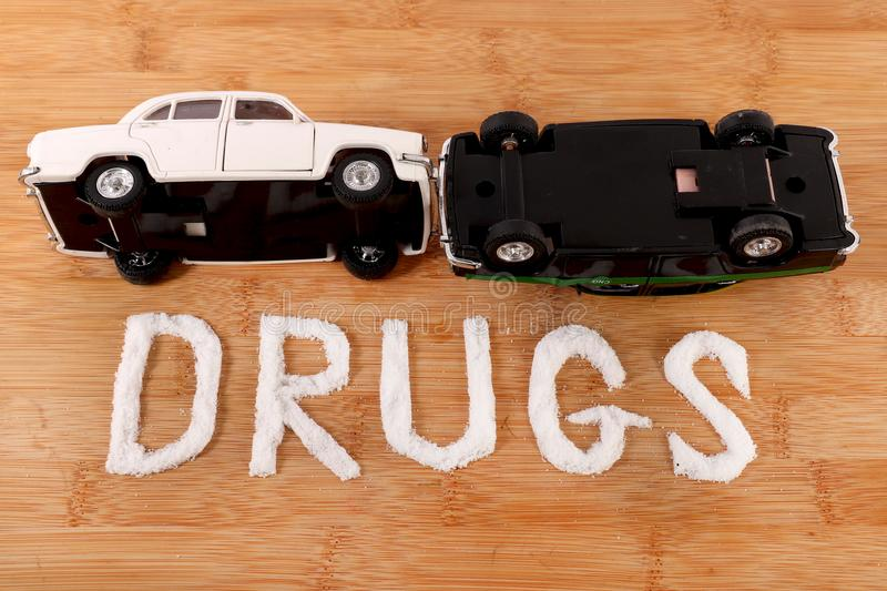 Drug use and accident stock images
