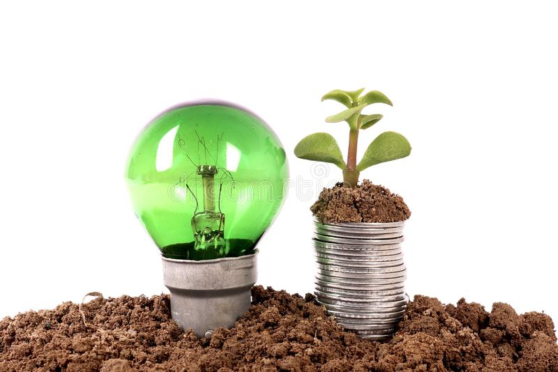 Green energy and economy growth. Concept shot of green energy and economy growth stock photography