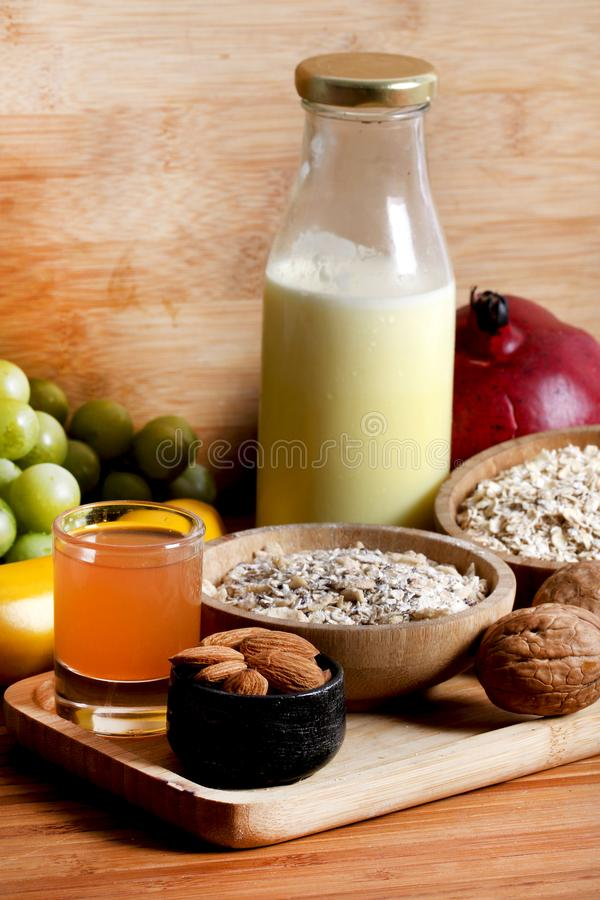 Healthy breakfast. Concept shot of healthy breakfast for fitness royalty free stock photo