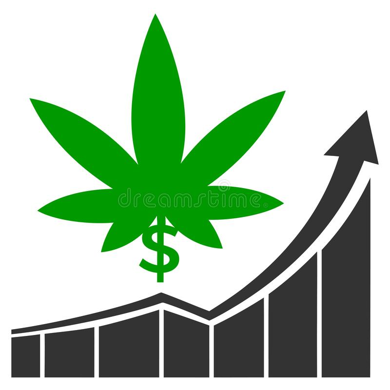 Cannabis stock market. Concept sign for the raising profits on the marijuana market in America and Canada stock illustration