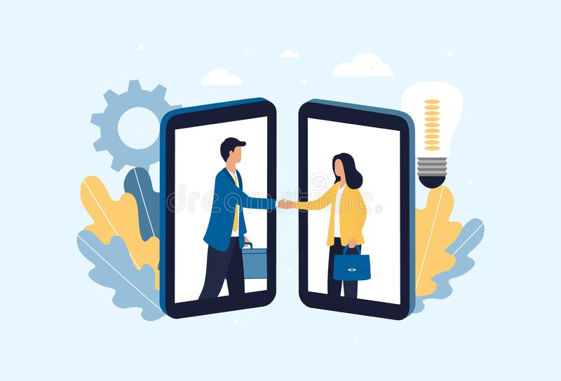 The concept of signing an online contract. A business man and woman in smartphones made a smart deal over the Internet. Discussion. Of details, mutually stock illustration