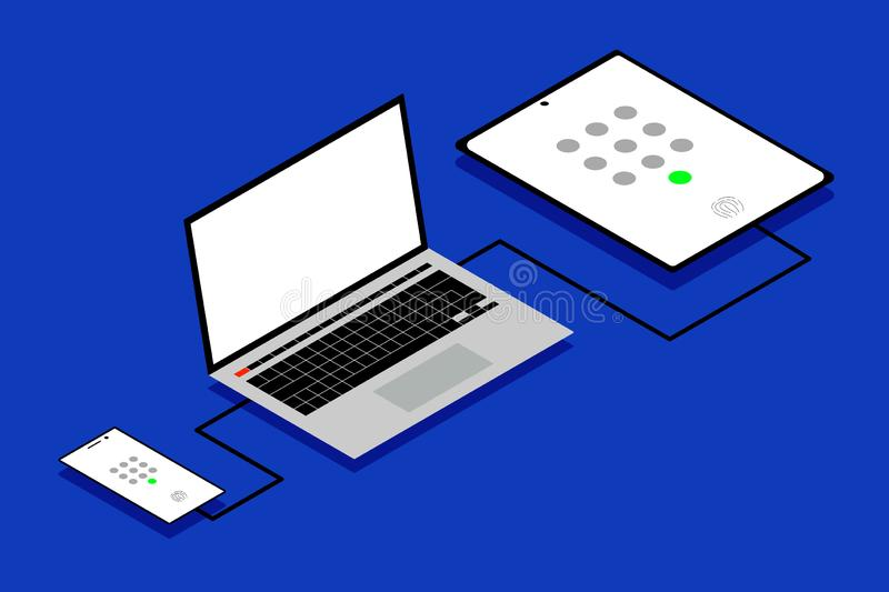 Concept of simple IT workstation with passcode and biometric authentication icons. vector illustration