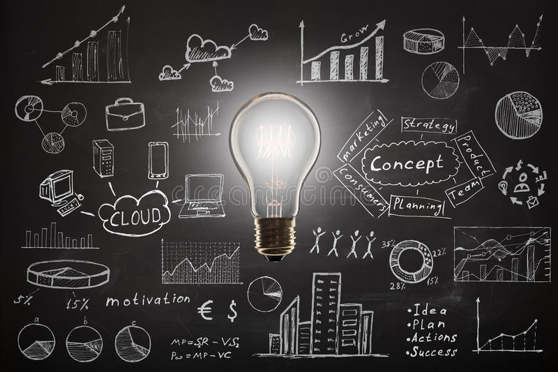 Concept - sketch with schemes and graphs on chalkboard. Business concept - sketch with schemes and graphs on chalkboard royalty free stock photos