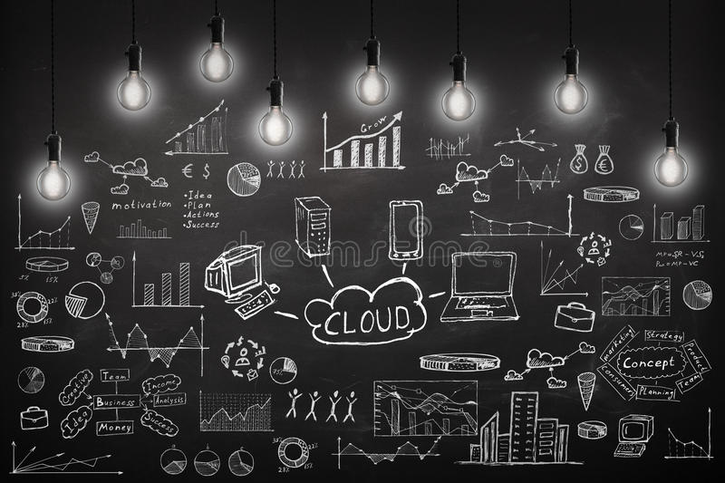 Concept - sketch with schemes and graphs on chalkboard. Business concept - sketch with schemes and graphs on chalkboard stock images