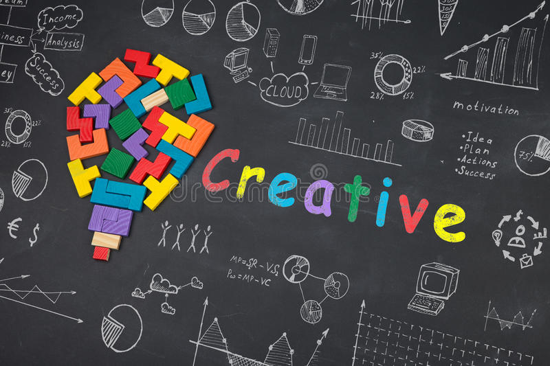 Concept - sketch with schemes and graphs on chalkboard. Business creative idea concept - sketch with schemes and graphs on chalkboard stock images