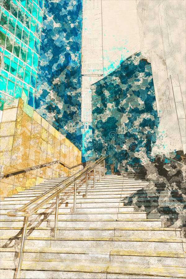 Concept, sketch skyscraper facade office buildings modern glass. Concept, sketch blue skyscraper facade. office buildings. modern glass silhouettes of royalty free stock photo