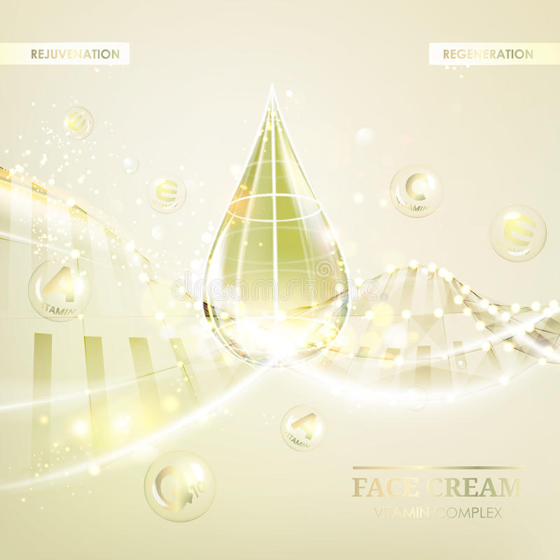 Concept Skin Care Cosmetic. Regenerate cream and Vitamin Background. Sepia banner with a DNA molecule of polygons. Vector illustration royalty free illustration