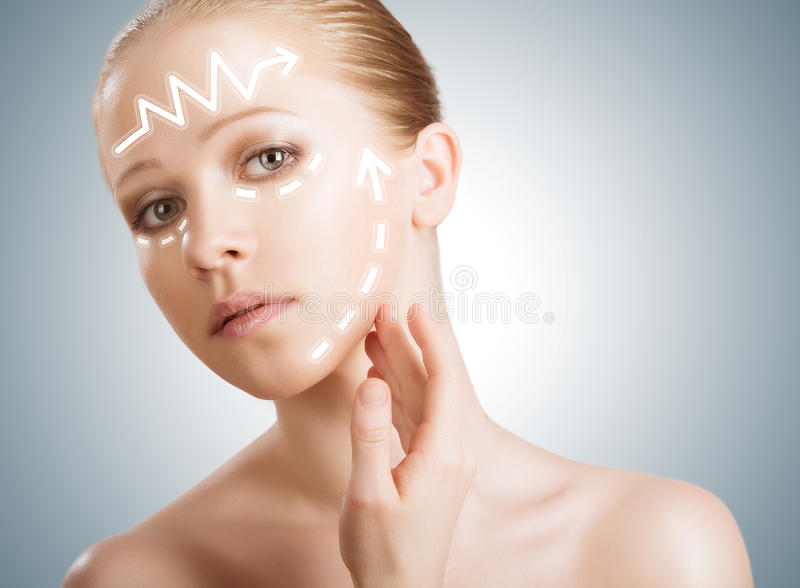 concept skincare. Skin of beauty woman with facelift, plastic surgery, rejuvenation, arrows stock photo