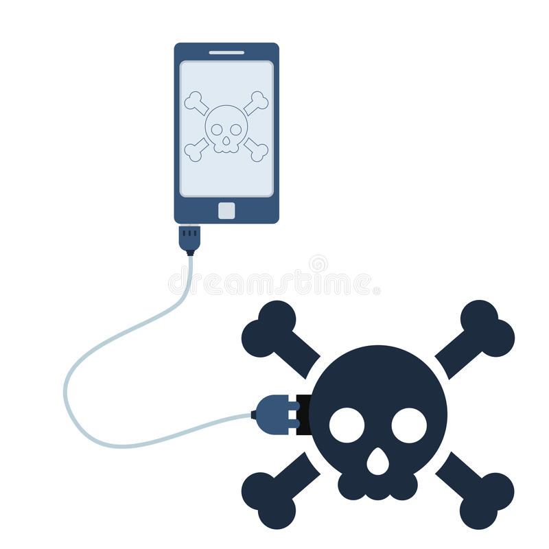 Concept skull automation using cell phone vector illustration