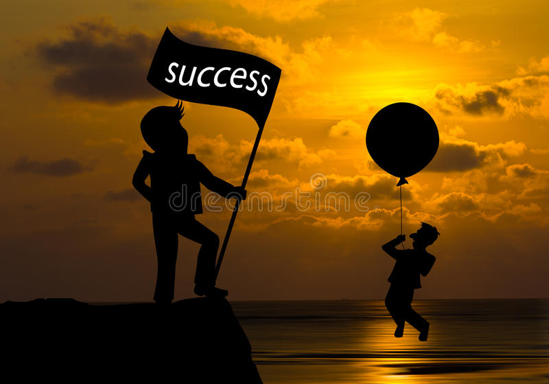 Concept skyline ,Cartoon man flying away by using balloon and ma royalty free stock images