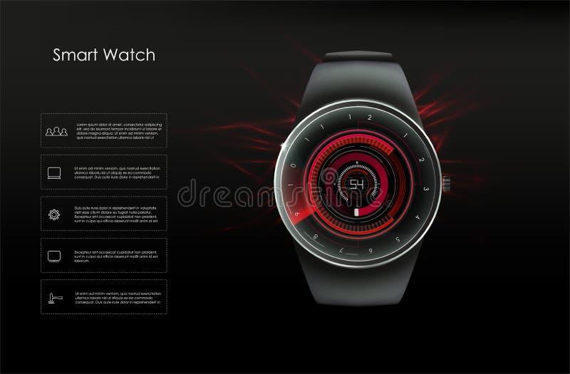 Concept slimme horloges, rode tonen Vector beeld vector illustratie