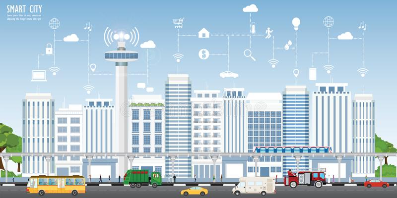 Concept slimme stad op stedelijk landschap royalty-vrije illustratie